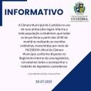 Informativo - Todas as terças feiras a partir das 10:00 da manhã se realizarão as reuniões ordinárias, transmitidas por meio do FACEBOOK